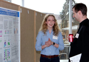 Students presented posters after the April awards ceremony.