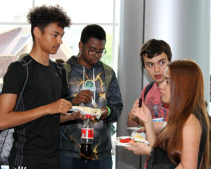 Students at a reception