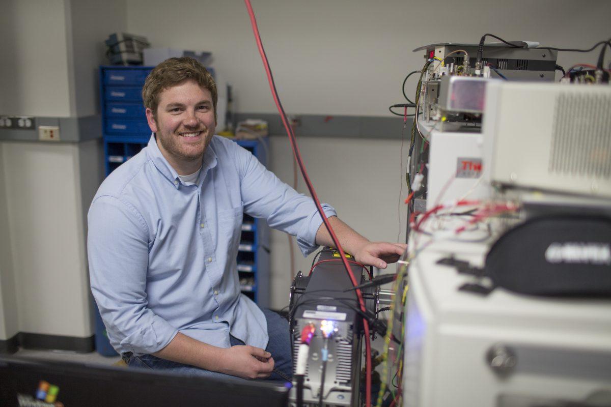 Nicholas Riley in the lab