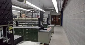 Organic lab B341 is now separated from the construction zone