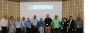 Robert West with colleagues in Prague. Pictured (from left): J. Michl, K. Baines, A. Sekiguchi, H. Schmidbaur, Y. Apeloig, R. Tacke, R. West, J. Kaleta, M. Driess, P. Young, M. Karni, K. Tamao, R. Weidner