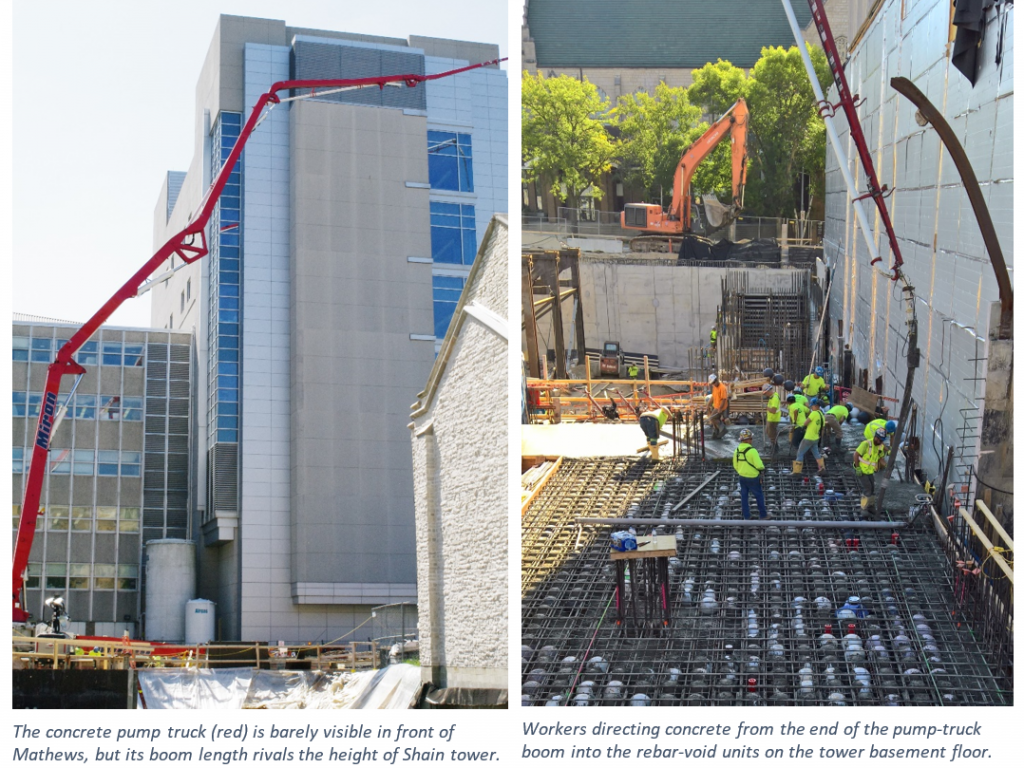two construction photos show construction equipment moving materials for the new building