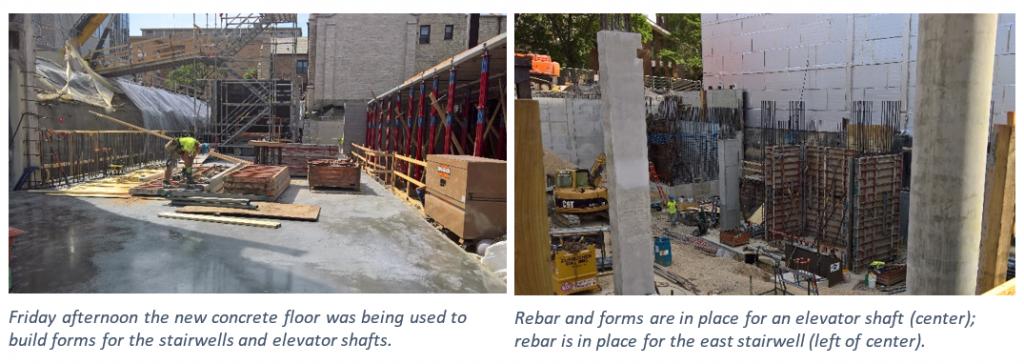 two construction photos show beams and concrete