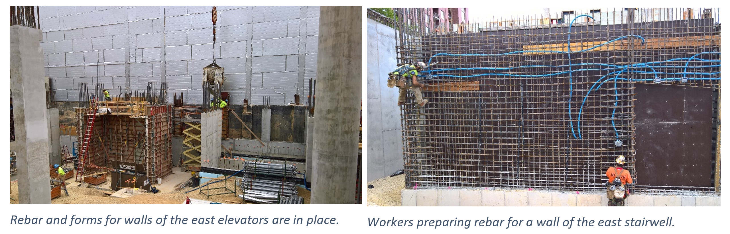 Photos of rebar forms for walls and workers preparing metal pieces of walls for a stairwell.