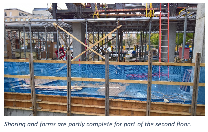 Shoring and forms are partly complete for part of the second floor.