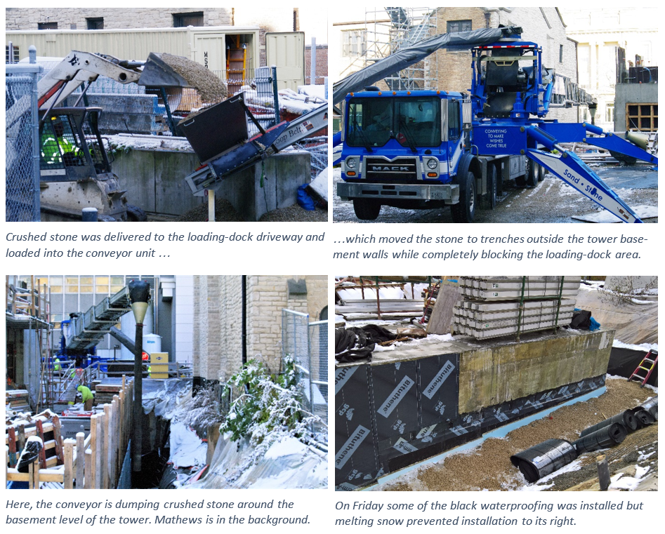deliveries and waterproofing occur as the building is constructed