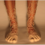 Feet with crocheted fabric