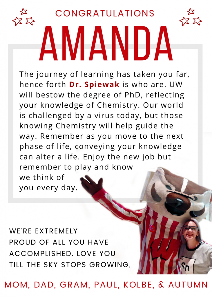 Congratulations Amanda Spiewak