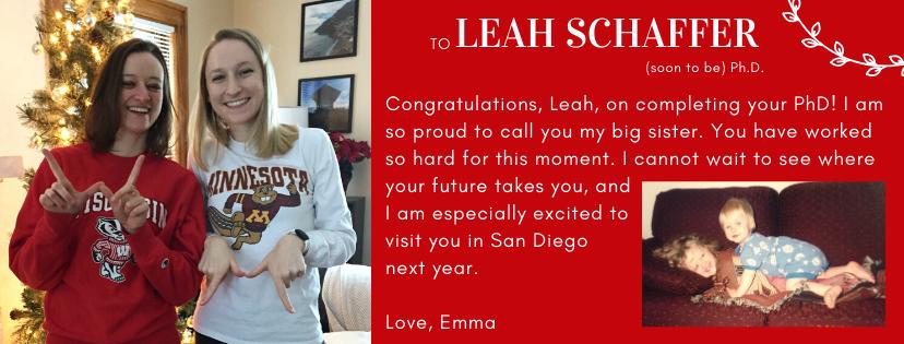 Congratulations to Leah Schaffer