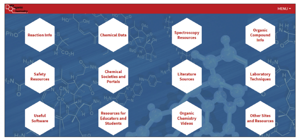 The home page of the new Organic Chemistry Data website offers content and resources to help students and researchers.