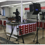 Cameras are set up to record laboratory components of general chemistry for instructional videos.